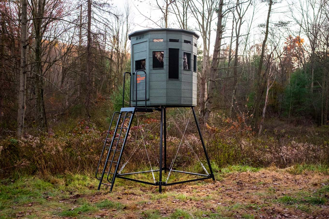 8' metal stand shown with 6x6 360 Pro Hunting Blind