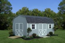 Dutch Barn 12′ x 20′ • Light grey siding, white trim and shutters, black shingles.