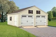 Double Wide Garage 24′ x 24′ • Antique ivory vinyl siding, white trim and doors, black shutters, slate architectural shingles