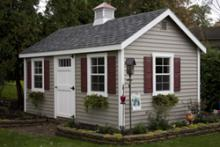 cape cod barn 10' x 16' with sandstone vinyl siding