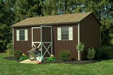 10′ x 16′ • Charcoal brown siding, almond trim, cedar architectural shingles, optional gable vents