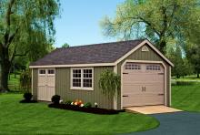 Deluxe Cape Cod Garage 12′ x 24′ • Avocado green siding, almond trim and doors, black architectural shingles Options • Heritage garage door, side double doors with transom windows.