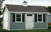 cape cod barn 10' x 16' with sage vinyl siding