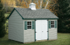 Standard Cape Cod 10′ x 12′ • Clay vinyl siding, green trim and shutters, slate architectural shingles